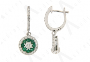 18K WHITE GOLD EMERALD EARRING