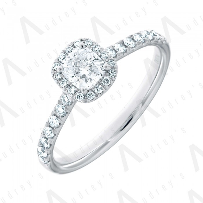 18K CUSHION HALO DIAMOND RING