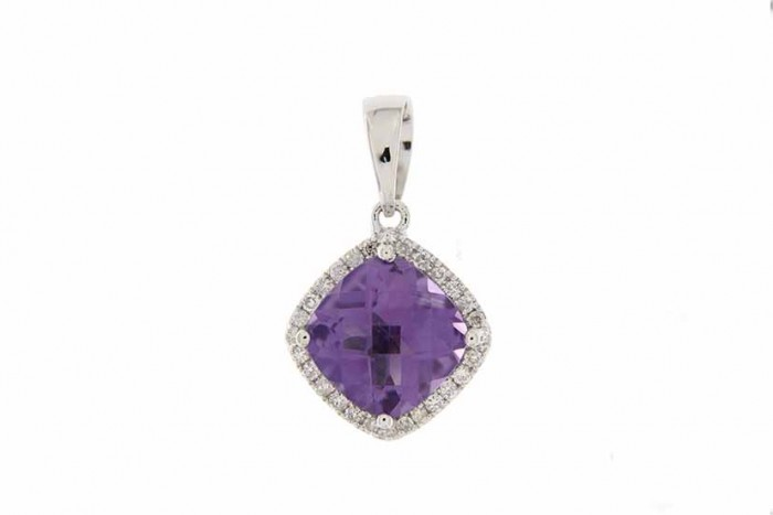 9K WHITE GOLD AMETHYST NECKLACE