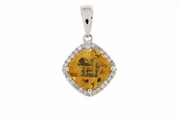 9K WHITE GOLD CITRINE NECKLACE