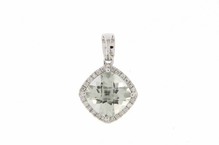 9K WHITE GOLD GREEN AMETHYST NECKLACE
