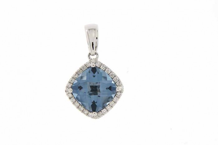 9K WHITE GOLD LONDON BLUE TOPAZ NECKLACE