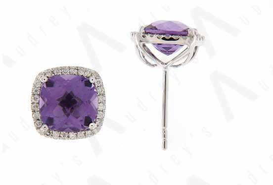 9K WHITE GOLD AMETHYST EARRING