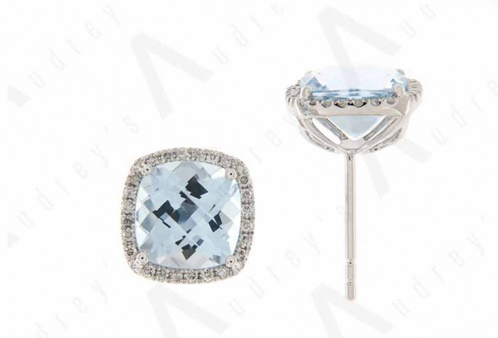 9K WHITE GOLD BLUE TOPAZ EARRING