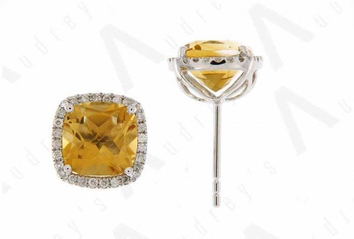 9K WHITE GOLD CITRINE EARRING