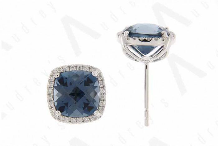 9K WHITE GOLD LONDON BLUE TOPAZ EARRING