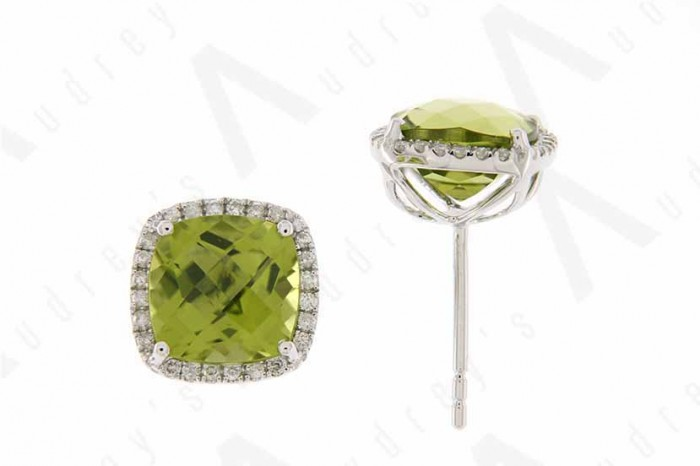 9K WHITE GOLD PERIDOT EARRING