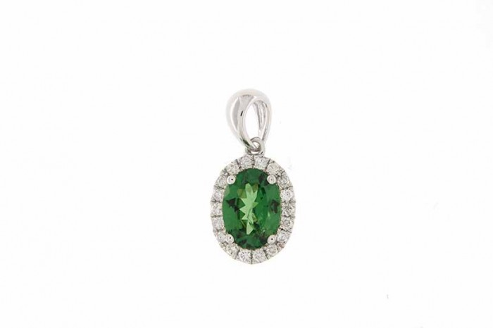 18K WHITE GOLD TSAVOLITE NECKLACE