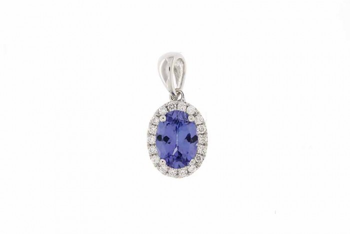 18K WHITE GOLD TANZANITE NECKLACE