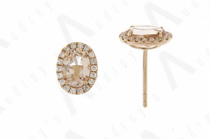 18K ROSE GOLD MORGANITE EARRING