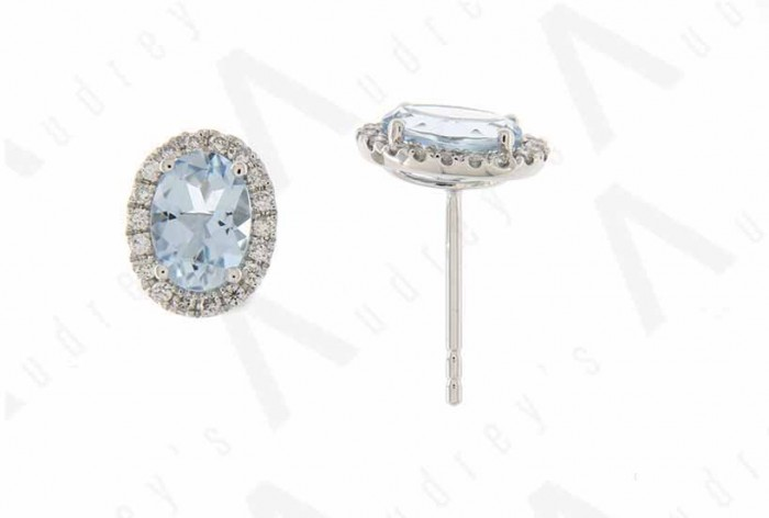 18K WHITE GOLD AQUAMARINE EARRING