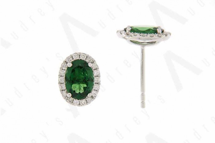 18K WHITE GOLD TSAVORITE EARRING
