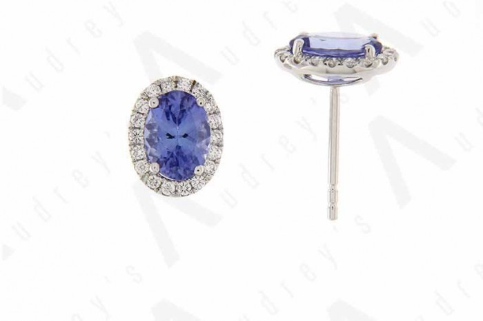 18K WHITE GOLD TANZANITE EARRING