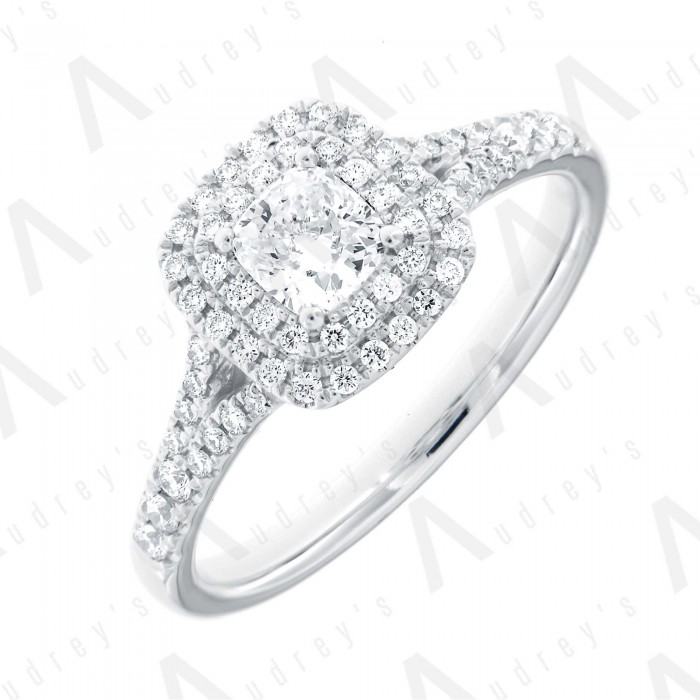 18K CUSHION DOUBLE HALO DIAMOND RING