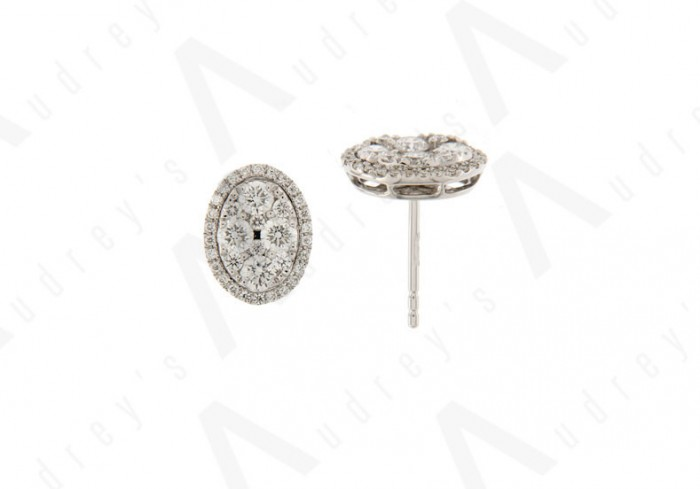 18K WHITE GOLD ILLUSION DIAMOND EARRING