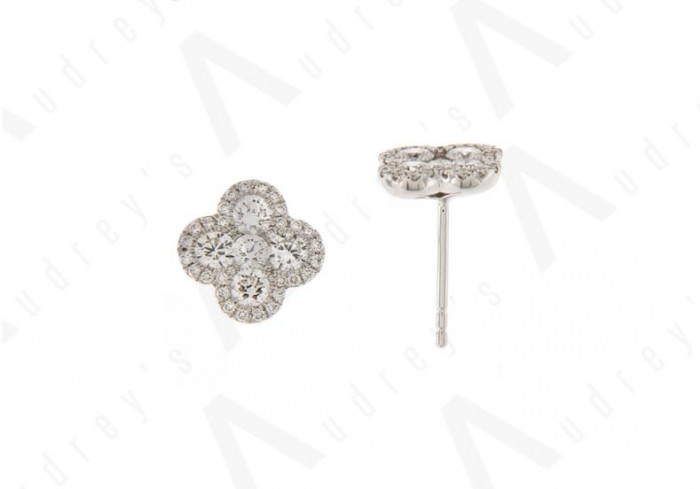 18K WHITE GOLD DIAMOND EARRING