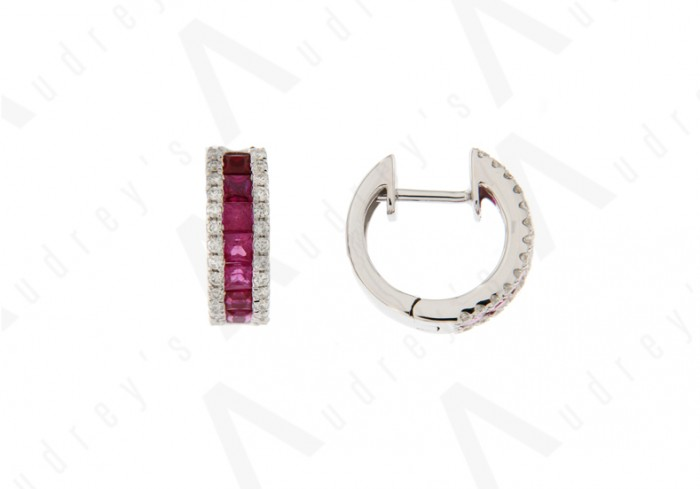 18K WHITE GOLD RUBY EARRING