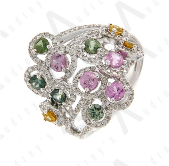 18K WHITE GOLD COLOR STONE RING
