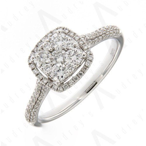 18K WHITE GOLD ILLUSION RING