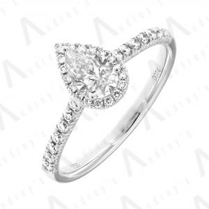 18K PEAR HALO DIAMOND RING