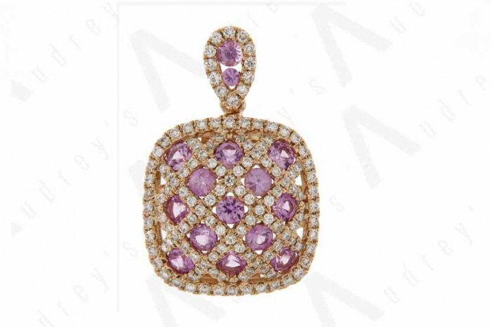 18K ROSE GOLD DIAMOND AND PINK SAPPHIRE PENDANT