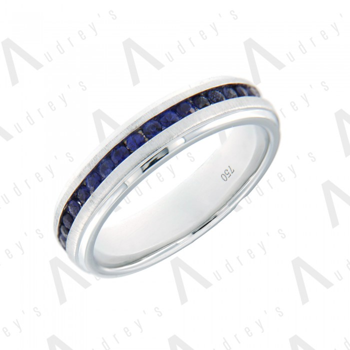 18K WHITE GOLD COLORSTONE BAND