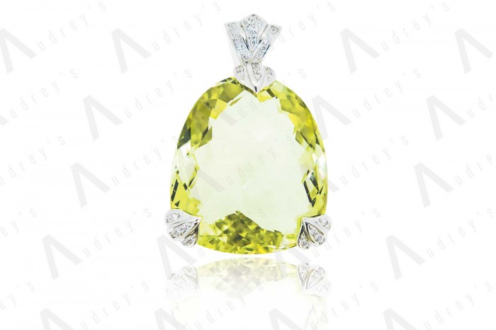 18 KARAT WHITE GOLD DIAMOND AND GEMSTONE PENDANT