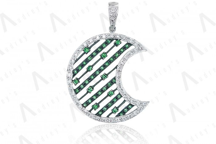 18K WHITE GOLD DIAMOND AND GEMSTONE PENDANT