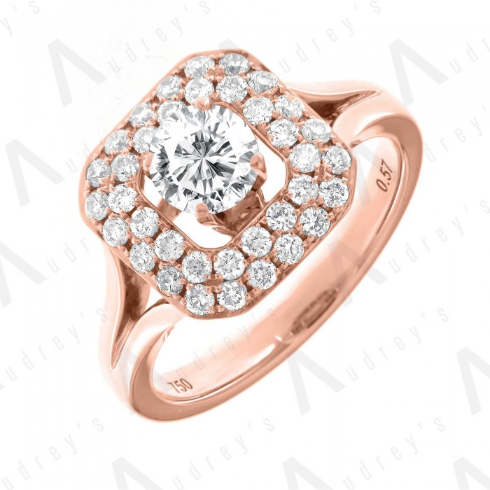 18K ROUND DOUBLE HALO DIAMOND RING