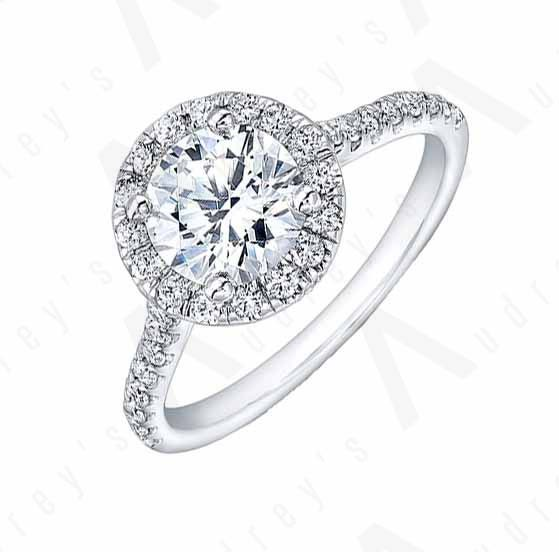 18K HALO DIAMOND RING