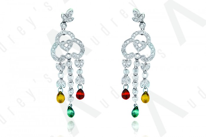 18K WHITE GOLD DIAMOND  AND GEMSTONE EARRING